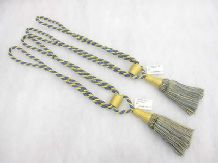 2 Blue & gold yellow curtain tassel tie backs Traditional rope & tassle tiebacks